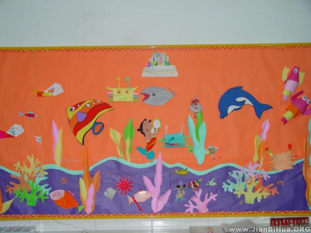 幼儿园中班墙面布置图片:海底世界
