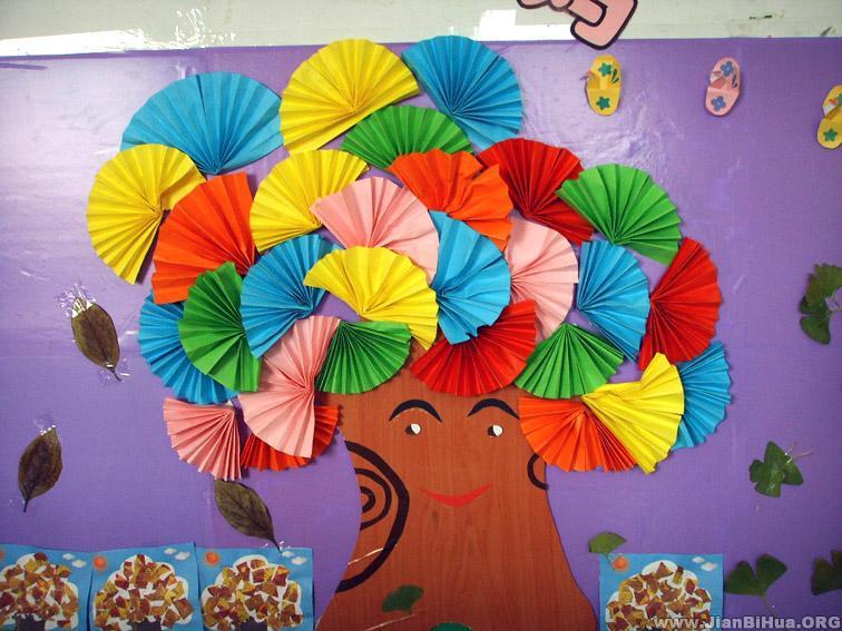 幼儿园小班主题墙布置:大树