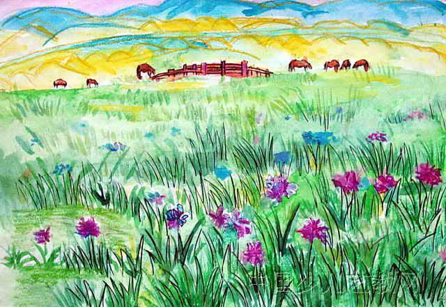 手绘草原一年级