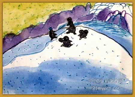 南极的小朋友儿童画