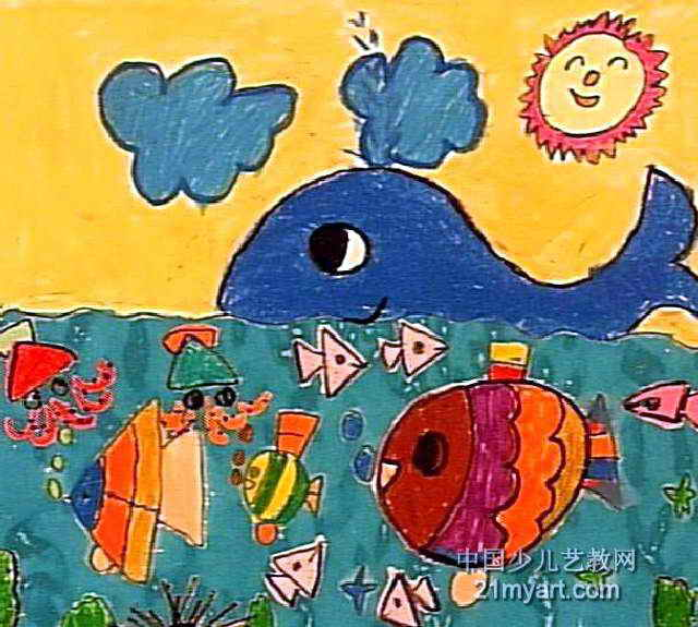 海洋儿童画图片大全-儿童画海洋世界图片,章鱼图画图片大全大图,陆地