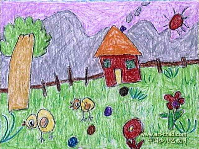 山脚下的小屋儿童画作品欣赏