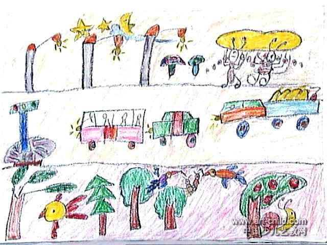 夜晚的城市街道儿童画作品欣赏