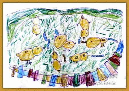 小鸡吃虫儿童画