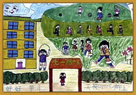校园一角儿童画图片_校园绘画作品大赛一等奖