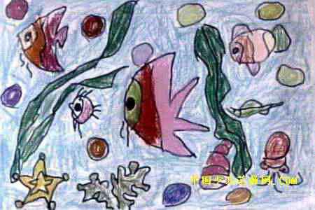 我家的鱼缸儿童画2幅