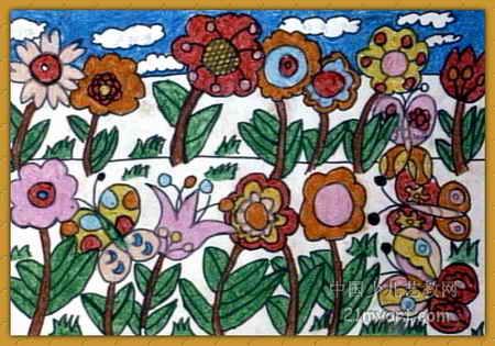 茂密的花油画棒儿童画小学社保深圳图片