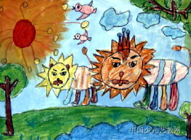 大狮子和小狮子儿童水粉画属于油画棒画,长468px,宽640px,作者李奕彤