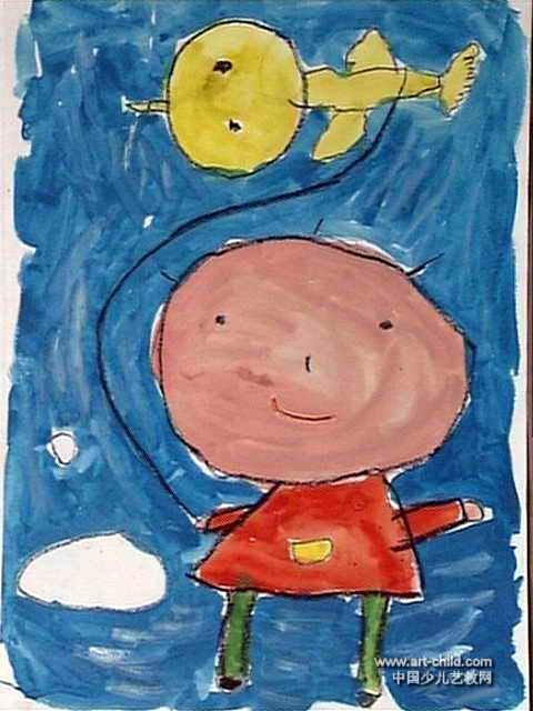 小鸟带我飞上天儿童画作品欣赏