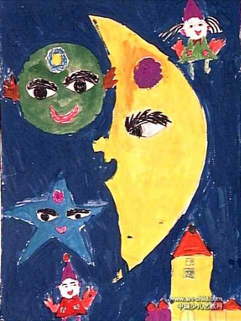 地球月亮星星的对话儿童画作品欣赏