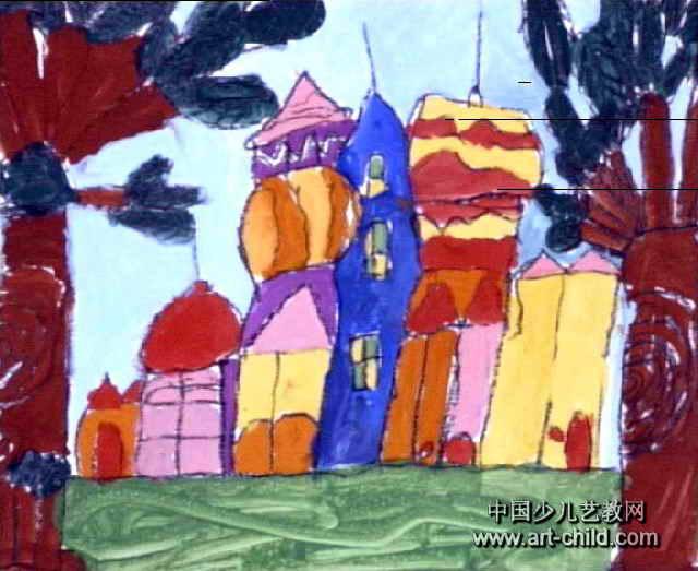 童话城堡儿童水粉画