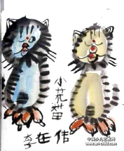 小花猫歌手儿童画作品欣赏
