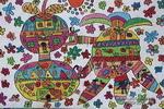 水果楼房儿童画作品欣赏