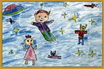 遨游宇宙儿童画
