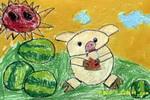 馋嘴的小猪儿童画