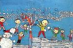 打雪杖儿童画作品欣赏