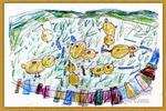 小鸡吃虫儿童画2幅