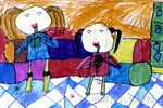 喝冷饮儿童画图片
