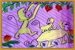 猴子摘桃子儿童画