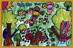 欢乐的树儿童画