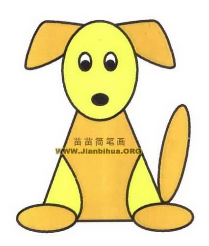 卡通小狗简笔画图片教程-空心小狗简笔画