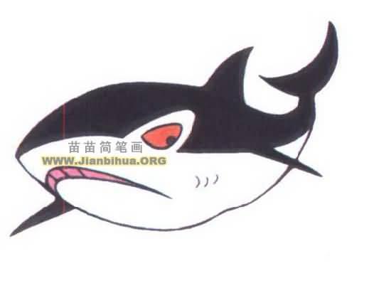 大鲨鱼简笔画图片