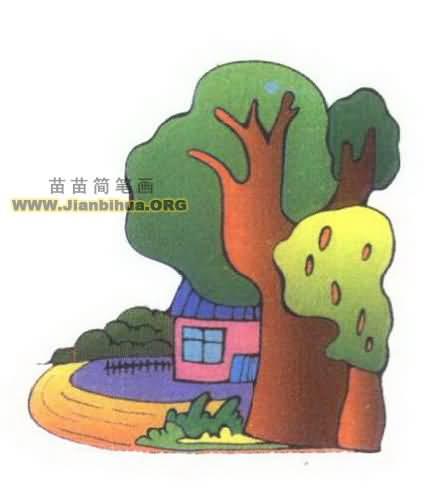 风景简笔画 建筑物简笔画  村庄是人类聚落发展中的一种低级形式,人们