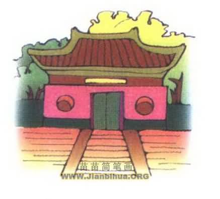 寺庙简笔画图片