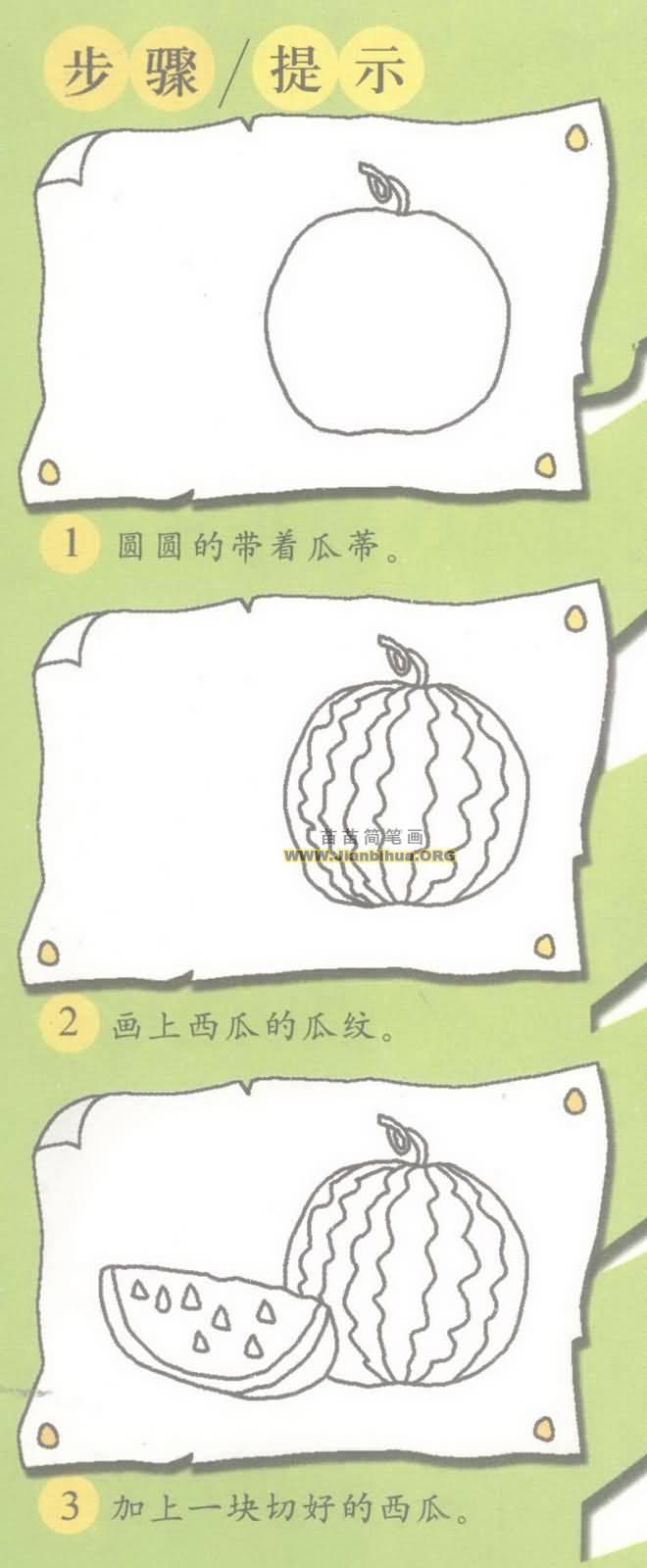西瓜简笔画图片