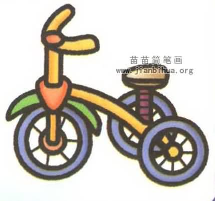 儿童脚踏三轮车简笔画