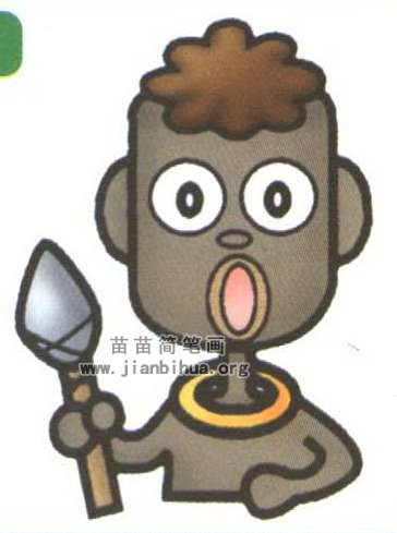 非洲土著居民简笔画