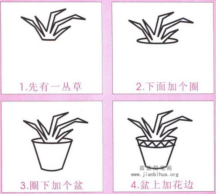 小花盆简笔画图片,教程