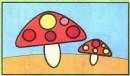 蘑菇简笔画涂色图片、教程