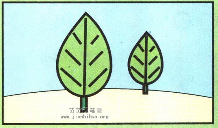 彩色简笔画春天的树