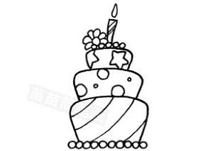 生日蛋糕怎么画简笔画图解
