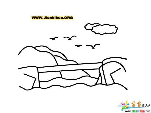 独木桥简笔画的画法