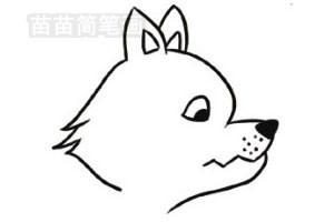 大灰狼简笔画图片步骤二