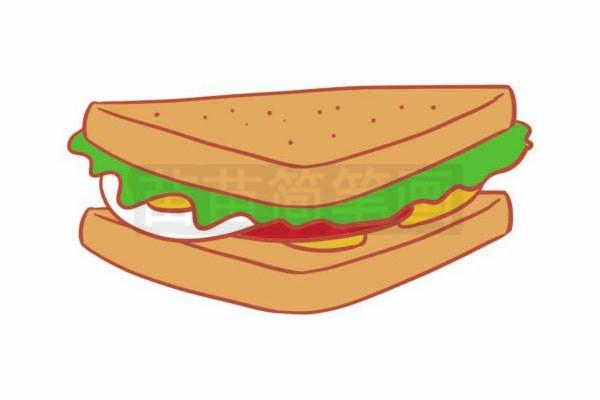 三明治简笔画图片步骤六
