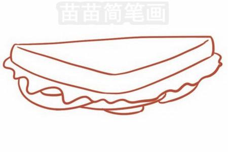 三明治简笔画图片步骤三