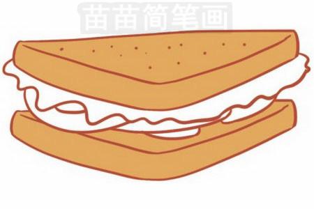三明治简笔画图片步骤五