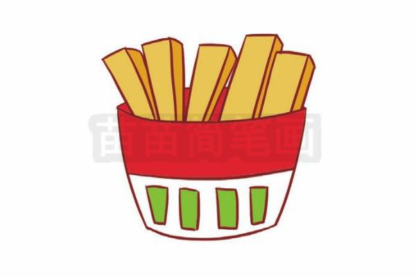 薯条简笔画图片步骤六