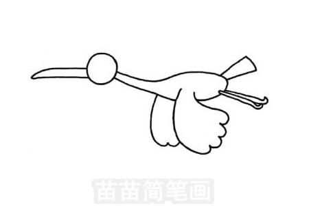 白鹤简笔画图片步骤三