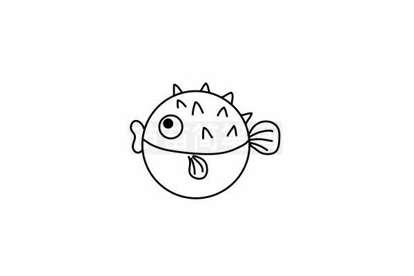 刺豚简笔画图片步骤六