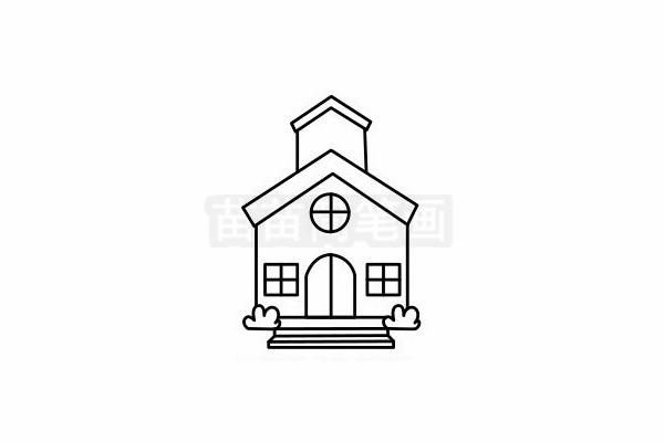 教堂简笔画图片步骤六