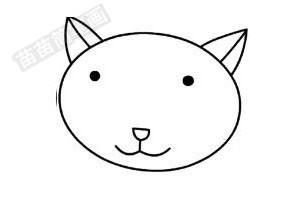 猫咪简笔画图片步骤二