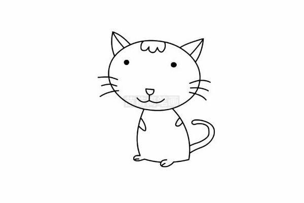 猫咪简笔画图片步骤五