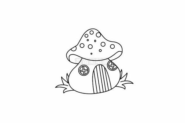 蘑菇屋简笔画图片步骤五