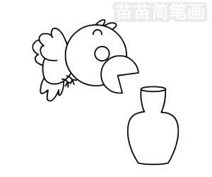 乌鸦喝水简笔画图片步骤三
