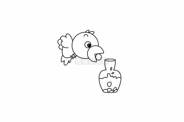 乌鸦喝水简笔画图片步骤五