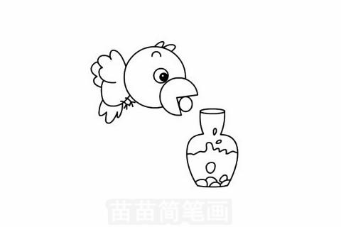 乌鸦喝水简笔画大图